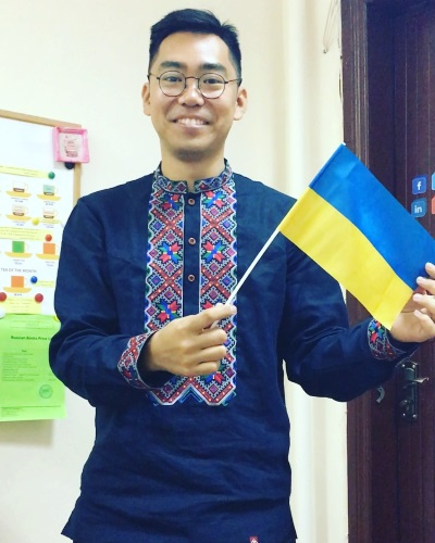 Student with Ukrainian flag